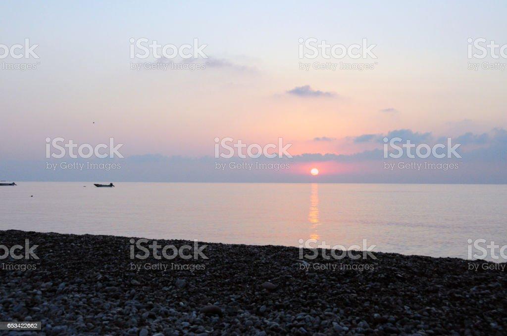 Pastel sunrise on Cirali Beach. stock photo