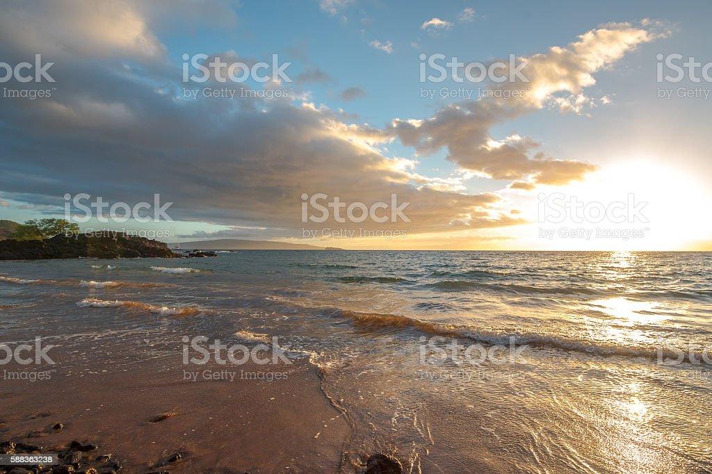 Pastel Sunset Reflected on Maui Shore stock photo