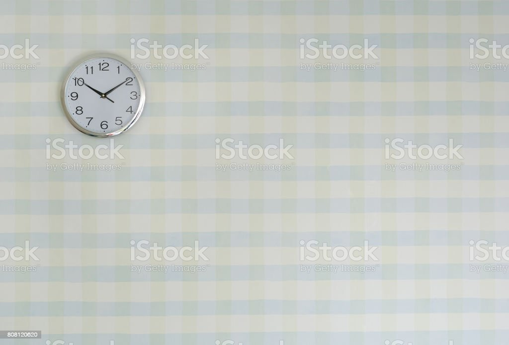Pastel wall background with clock, Education background concept. stock photo