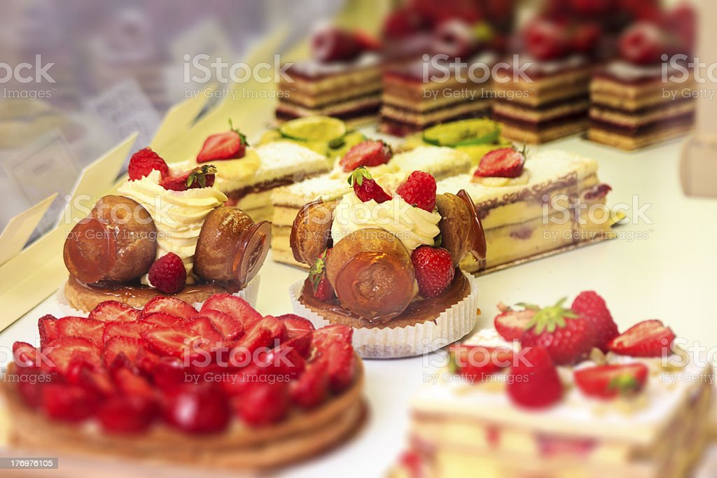Pastiries at food display stock photo