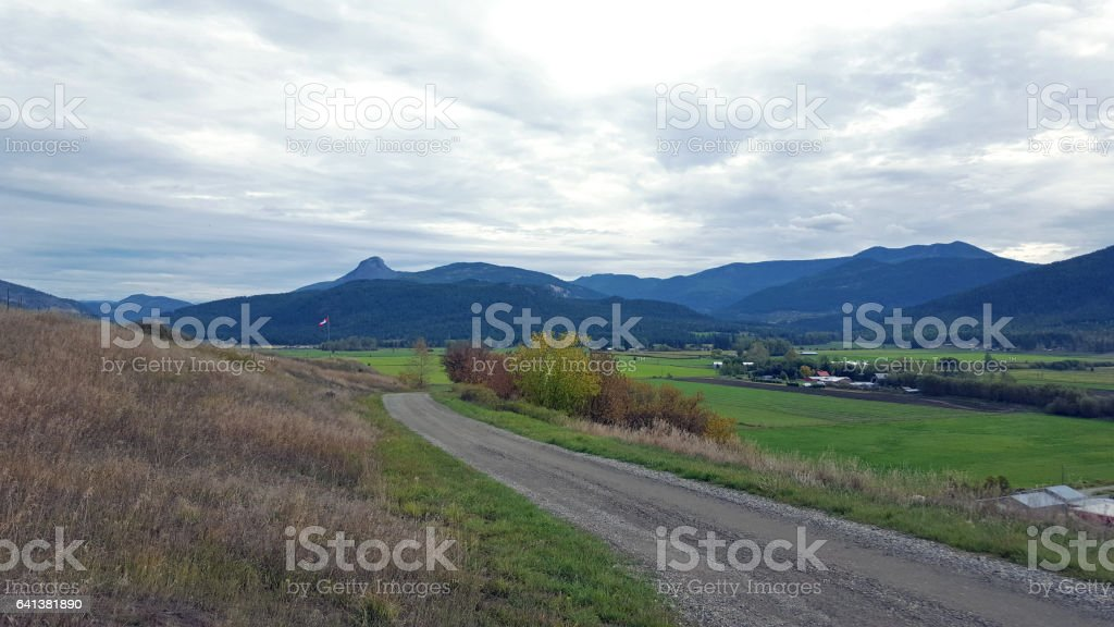 Pastoral Rural Okanagan Valley Landscape In Autumn stock photo