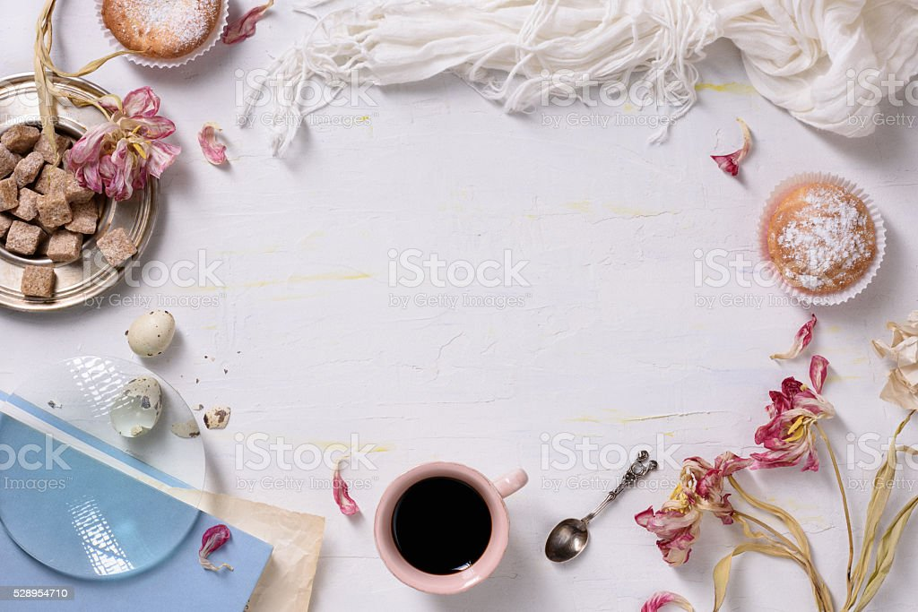 Pastries and coffee, food frame. stock photo