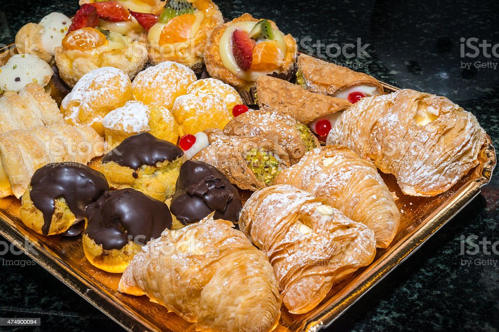 pastries dish stock photo