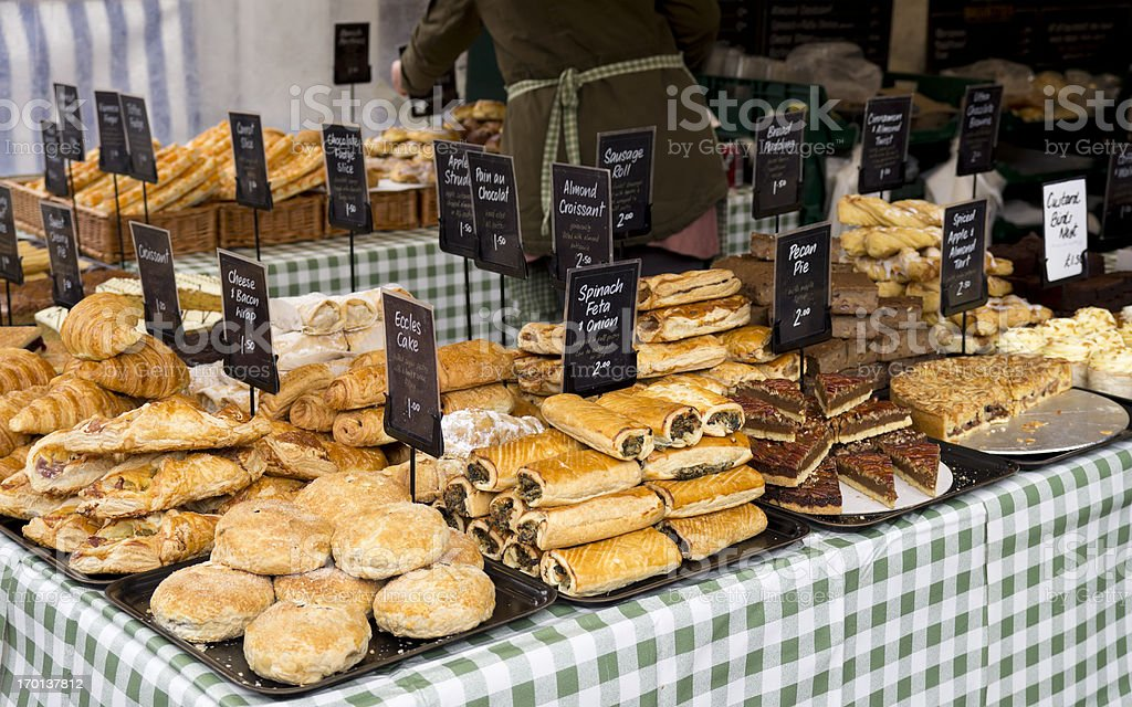 Pastries on a baker's stall stock photo