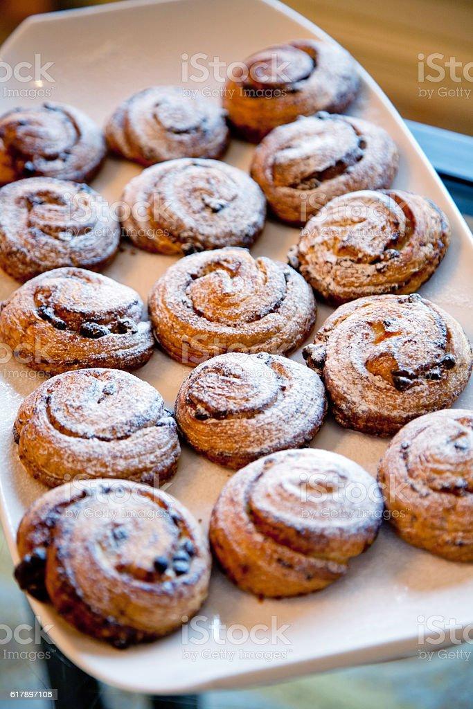 pastries with raisins stock photo