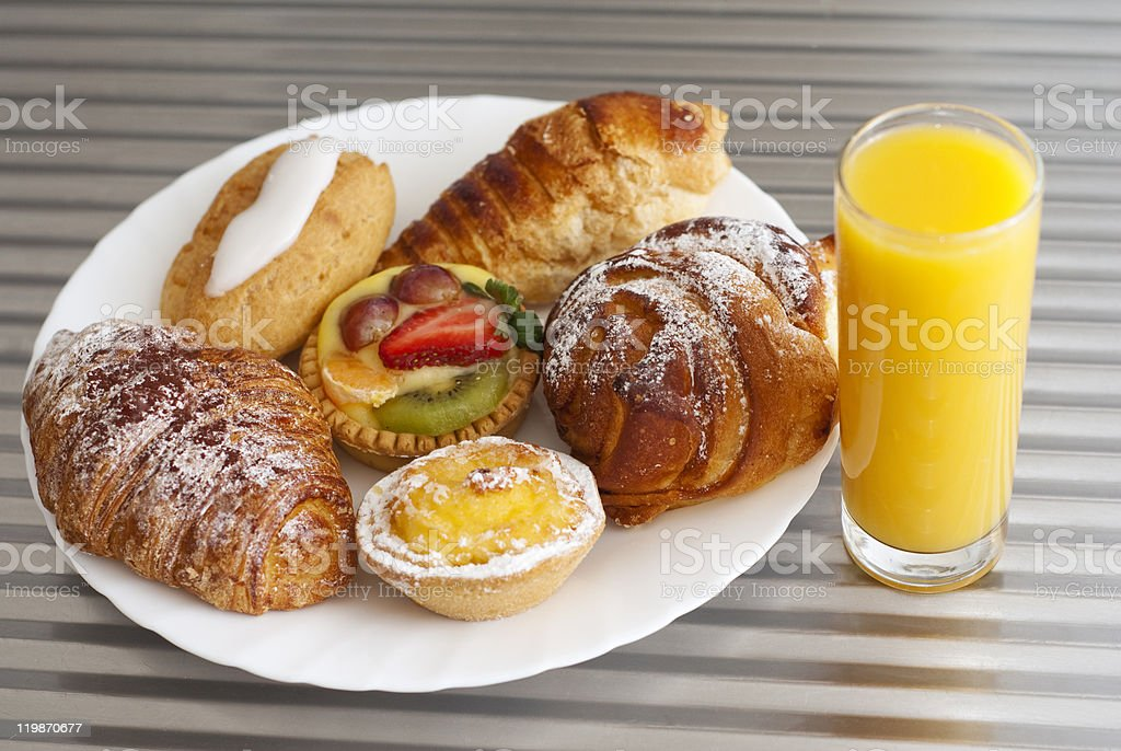 Pastry and juice royalty-free stock photo