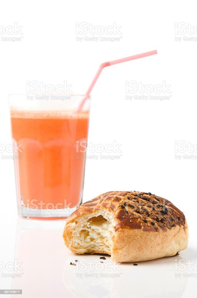 Pastry and orange juice stock photo