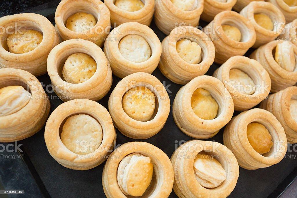 Pastry case of vol-au-vent stock photo