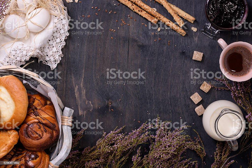 Pastry, coffee, eggs breakfast border stock photo