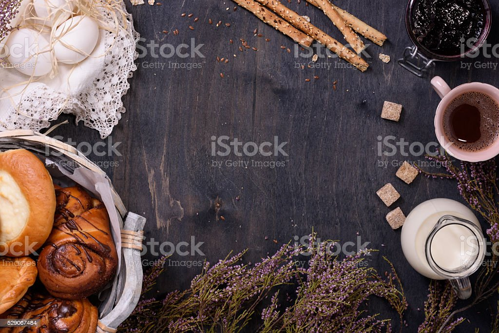 Pastry, coffee, eggs breakfast border stock photo