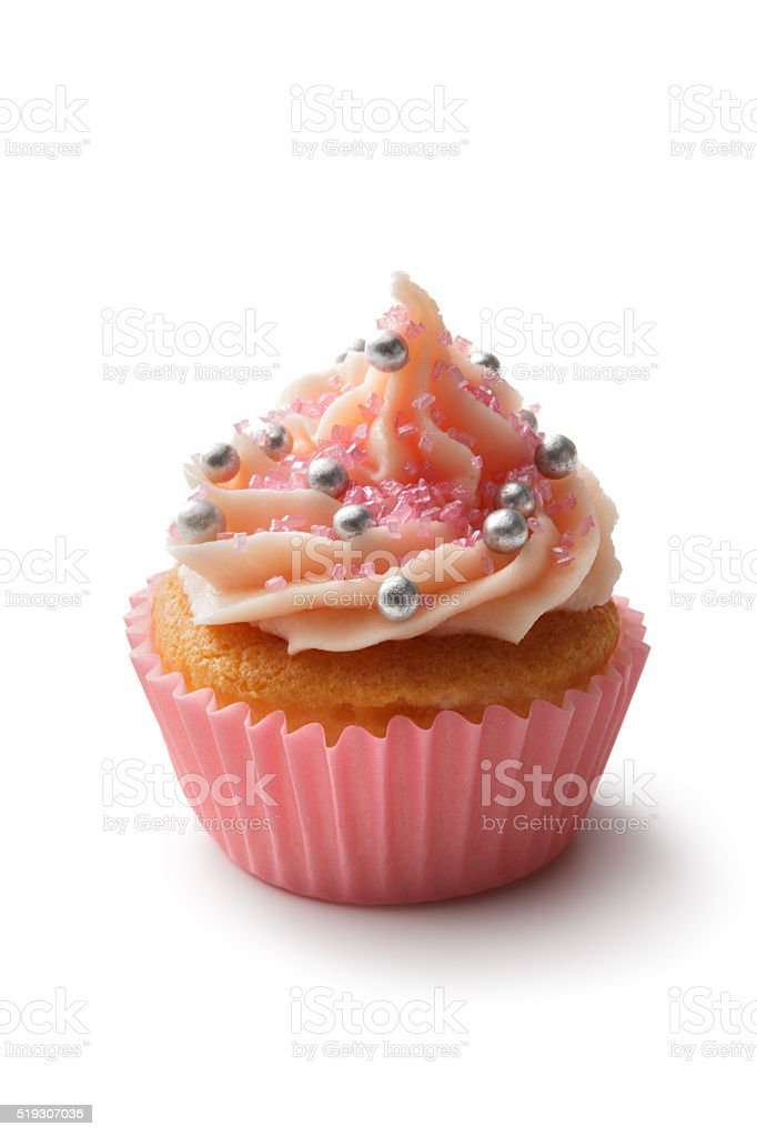 Pastry: Cupcake Isolated on White Background stock photo