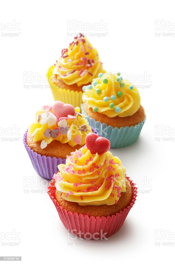 Pastry: Cupcakes Isolated on White Background stock photo