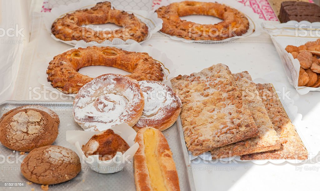 Pastry in spanish bakery stock photo