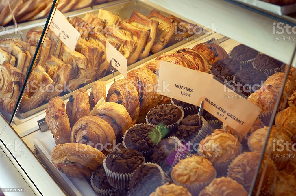 Pastry shop counter filled with fresh cakes royalty-free stock photo