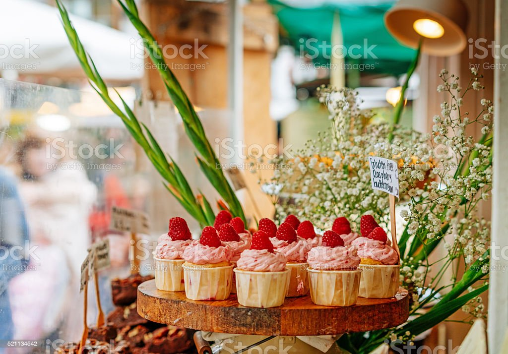Pastry shop with variety of pie, cake and other products stock photo