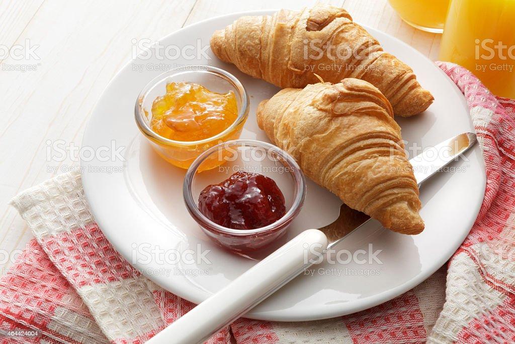 Pastry Stills: Croissant and Jam Still Life stock photo