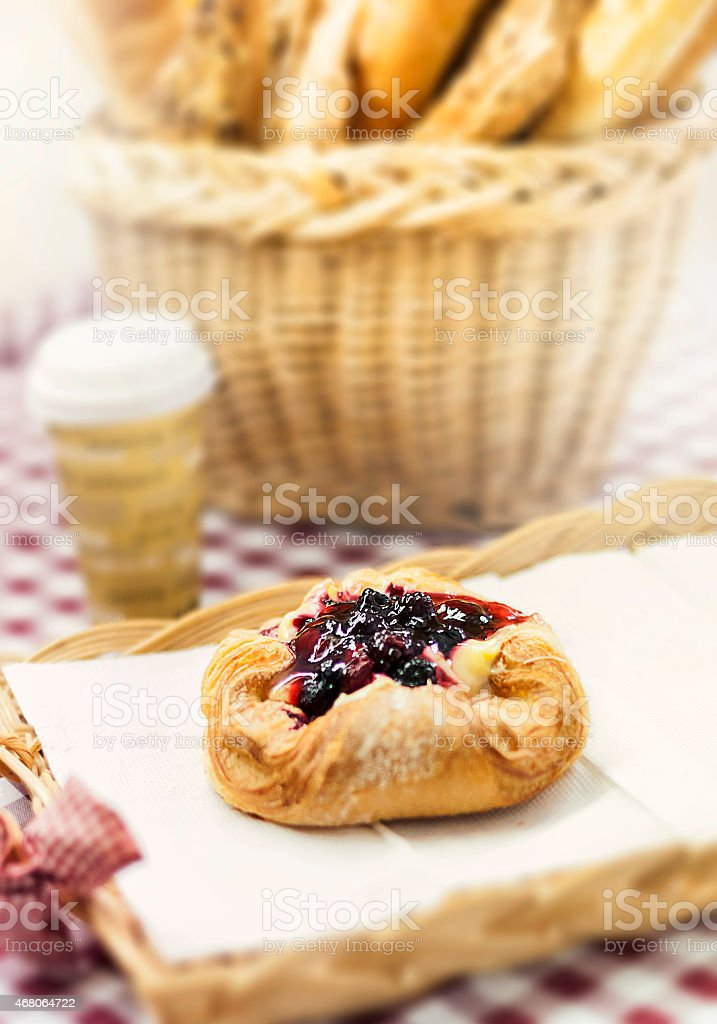 pastry with red jam stock photo