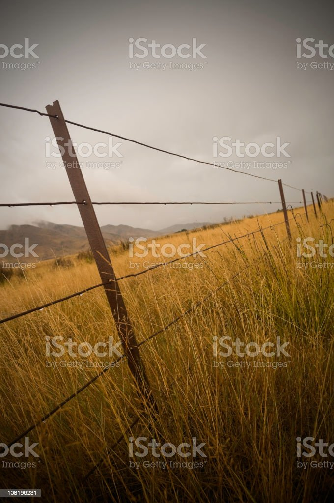 Pasture Field Fence Separating Land on Rainy Day stock photo