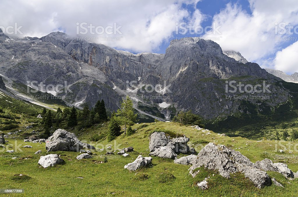 Pasture of Stegmoosalm, mountain Hochkonig, Salzburg, Austria stock photo