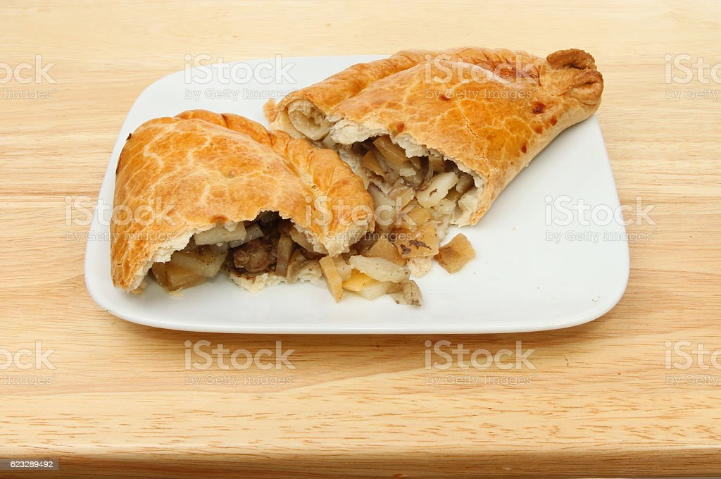Pasty on a plate stock photo