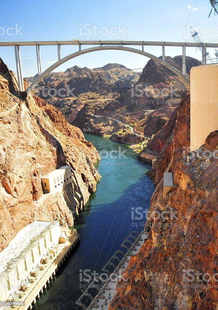 Pat Tillman Bridge, Hoover Dam, Arizona / Nevada state border stock photo