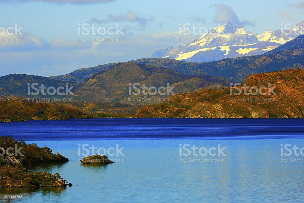 Patagonia: Blue Lake Pehoe and Torres del Paine landscape stock photo