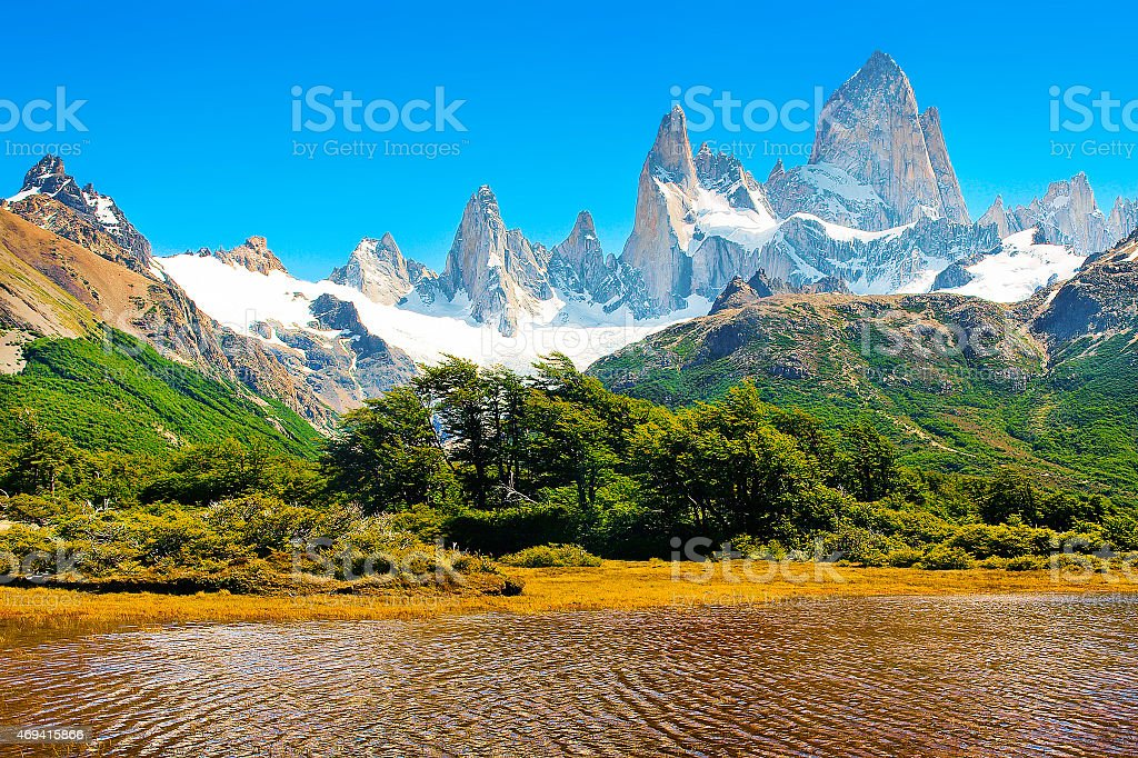 Patagonia landscape with Mt Fitz Roy in Argentina, South America stock photo