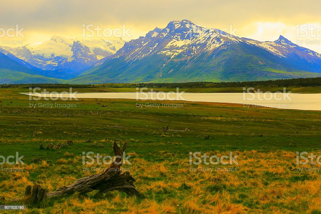 Patagonia mountains and steppe landscape, Estancia near Calafate, Argentina stock photo