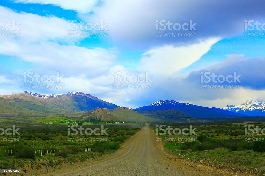 Patagonia mountains, country road, Dramatic clouds, El Calafate, Argentina stock photo