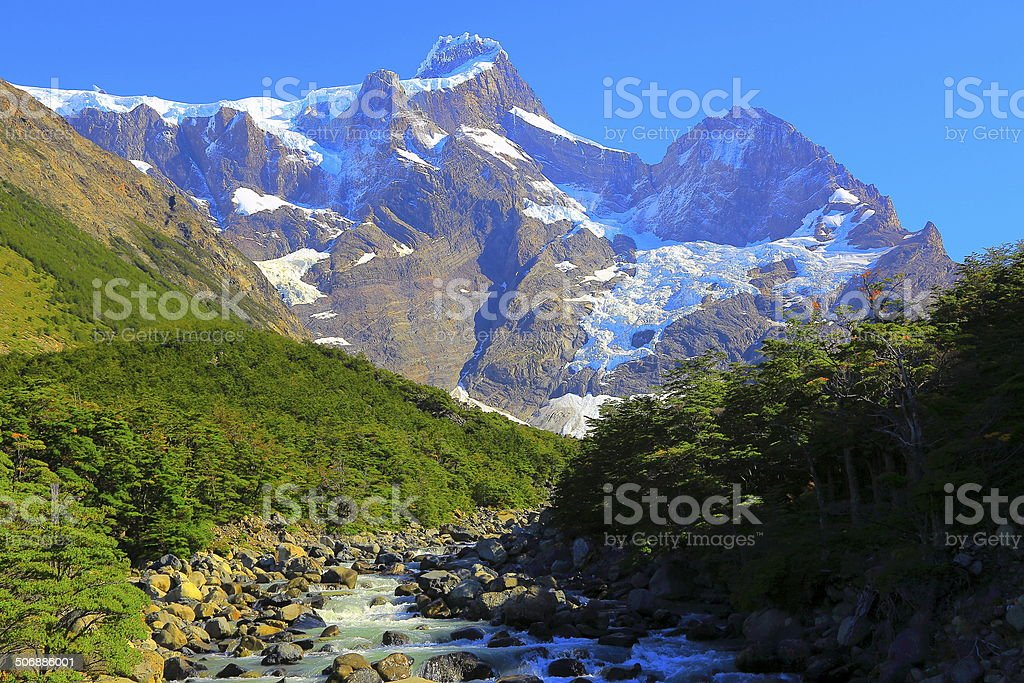 Patagonian andes Valle Frances landscape, Torres del Paine royalty-free stock photo