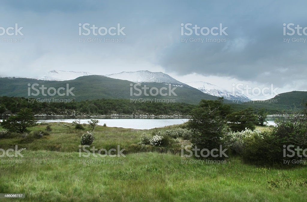 Patagonian cloudy landscape with mountains. royalty-free stock photo