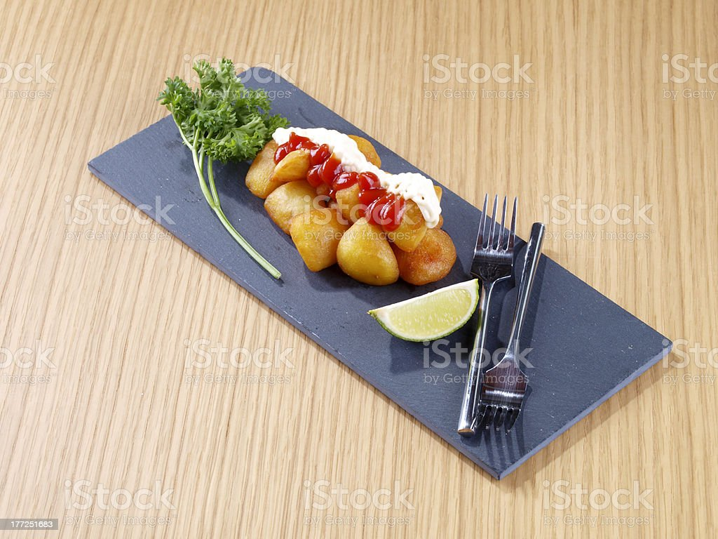 Patatas Bravas – Hot spicy fried potatoes royalty-free stock photo