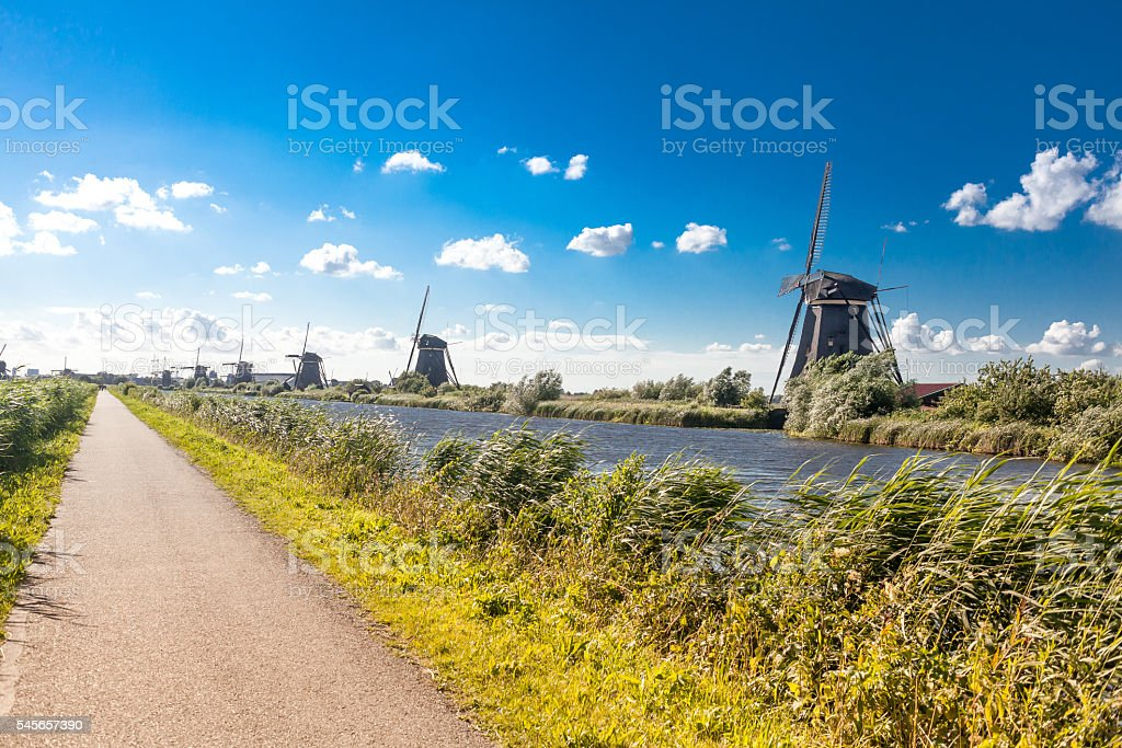 Patch to Traditional Dutch windmill on Netherlands village, stock photo