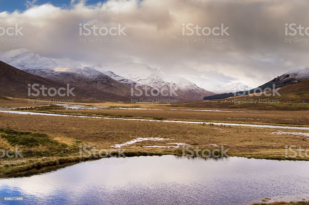 Patches of Blue Sky Over Glen Shiel, Scotland stock photo