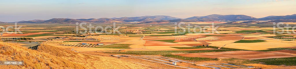 Patchwork agricultural landscape of La Mancha stock photo