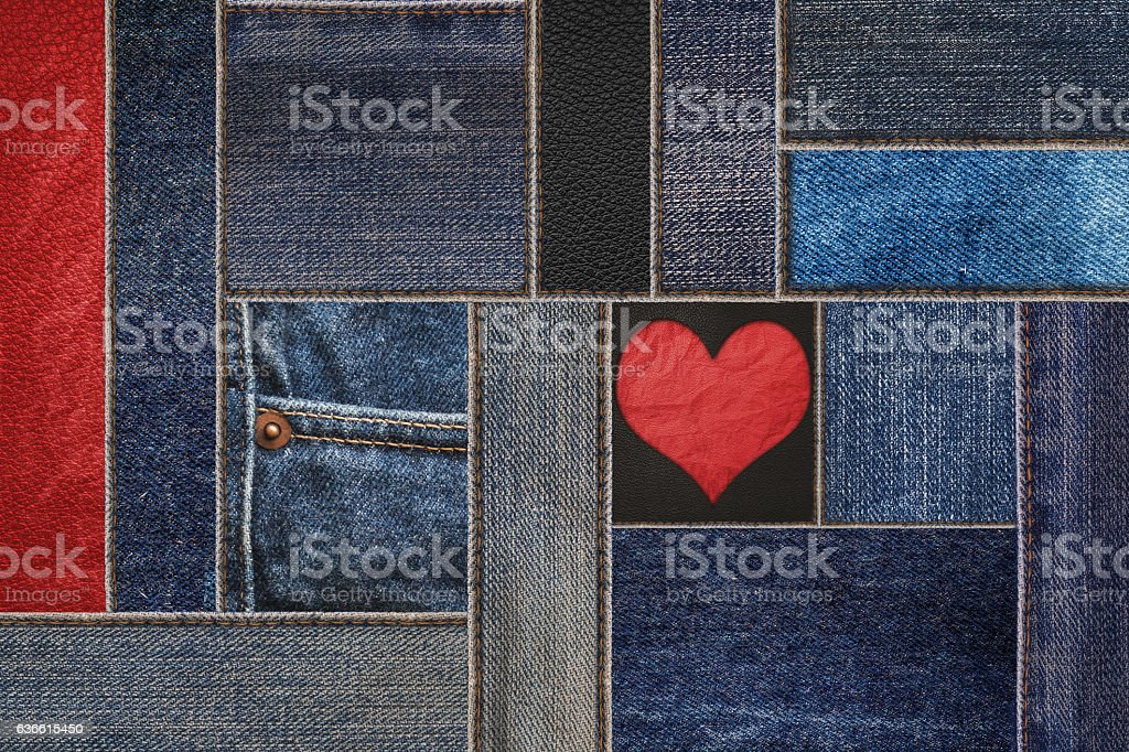 Patchwork denim jean with leather texture, and heart shape stock photo