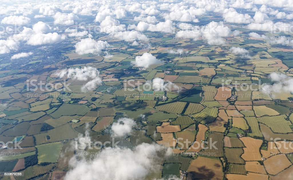 Patchwork fields of English countryside from the air stock photo