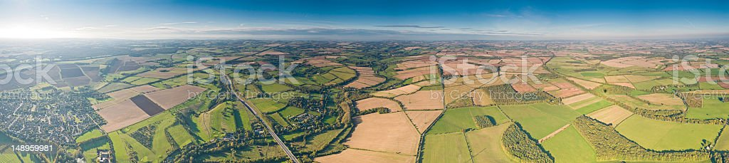 Patchwork land suburbs fields panorama royalty-free stock photo