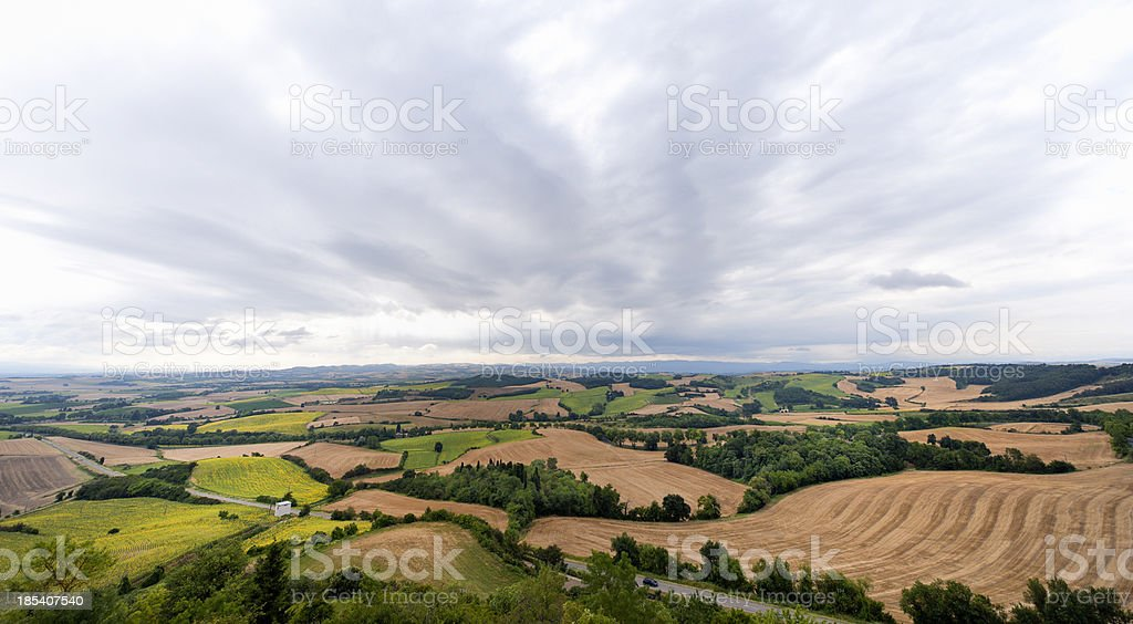 patchwork landscape in Pyrenees-Orientales, France royalty-free stock photo