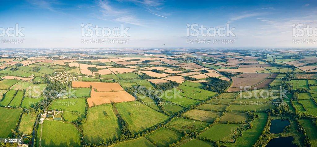 Patchwork landscape vista stock photo