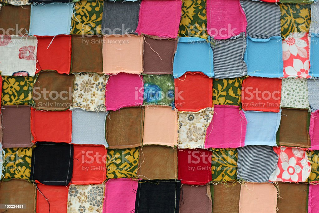 Patchwork Pattern Fabric Blanket stock photo
