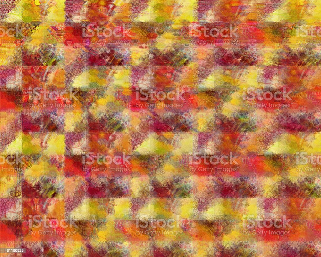 Patchwork Pattern in Red and Yellow stock photo