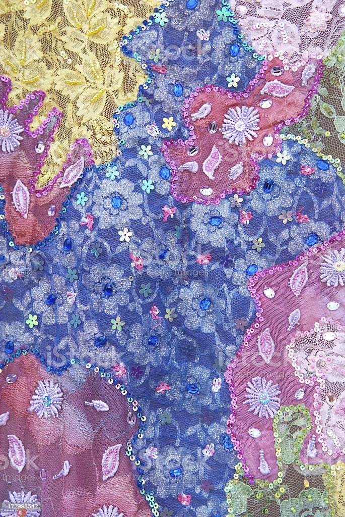 Patchwork Purple Fabric Background stock photo