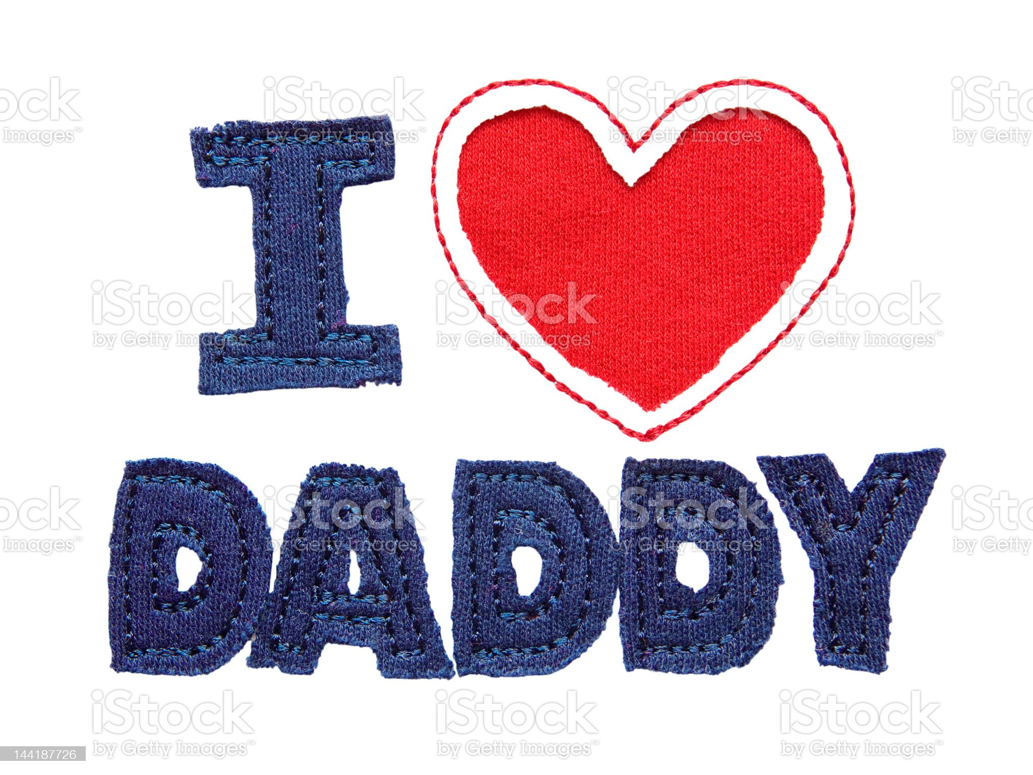Patchwork text 'I love daddy' isolated on white royalty-free stock photo
