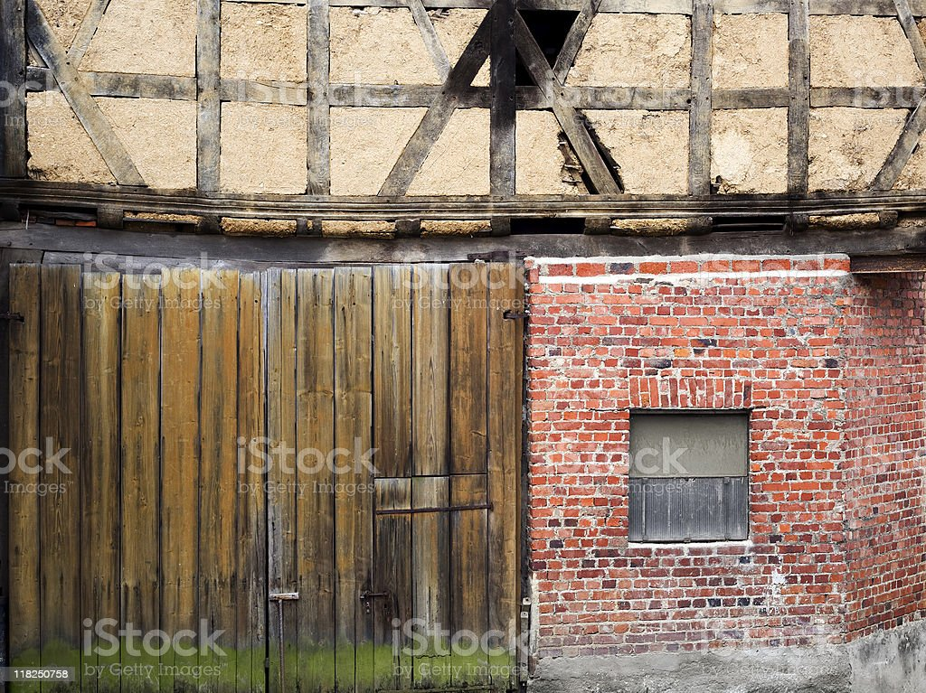 Patchwork - three different construction materials stock photo