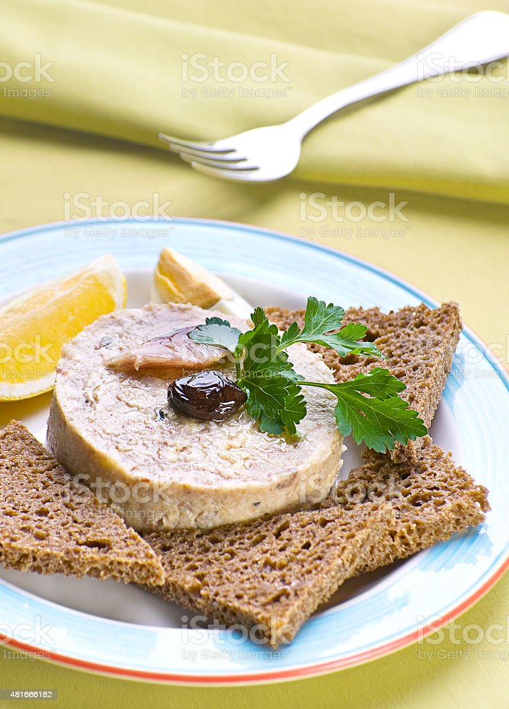 Pate hashed herring stock photo