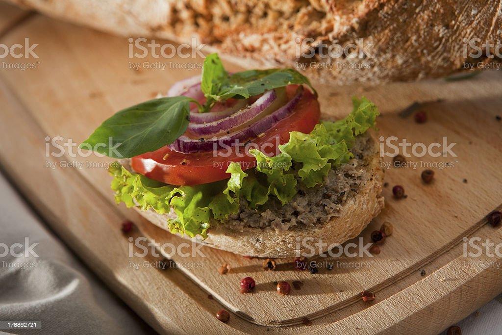 Pate Sandwich on Cutting Desk. royalty-free stock photo