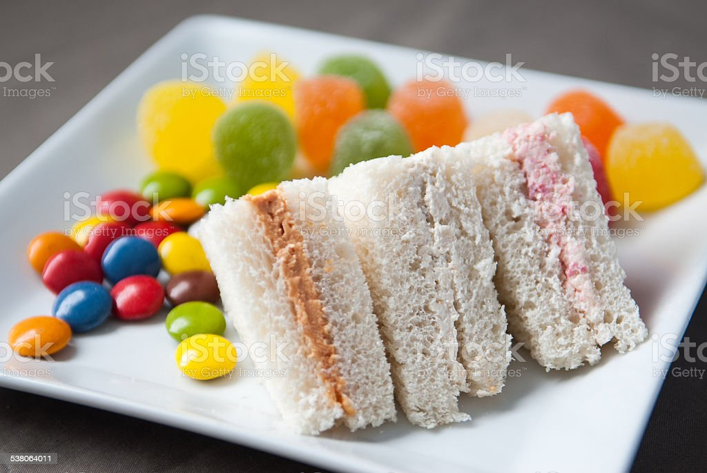 pate sandwich with small treats stock photo