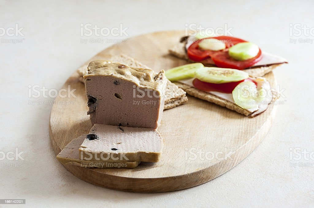 Pate & sandwiches on crispy bread royalty-free stock photo