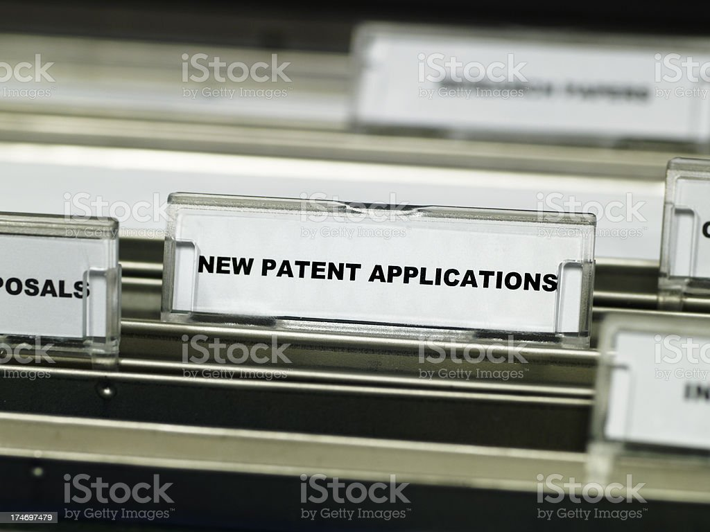 Patent applications suspension file stock photo